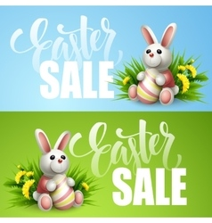 Easter sale background with eggs and spring flower vector image