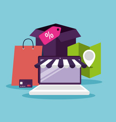 Ecommerce with laptop to shopping online vector
