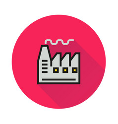 factory icon on round background vector image