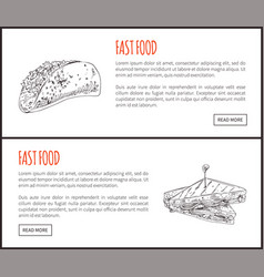 fastfood posters sandwich set vector image