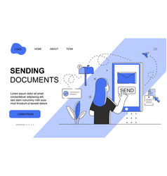 female character is sending documents mail vector image