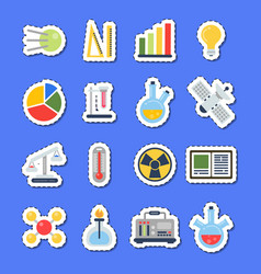 flat style science icons stickers with vector image