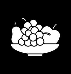 fresh fruits in bowl dark mode glyph icon vector image