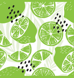 fruit seamless pattern lime with tropical leaves vector image