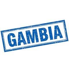 Gambia blue square grunge stamp on white vector