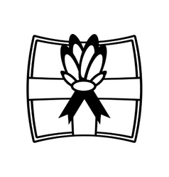 Gift box big ribbon bow top view outline vector