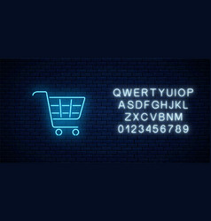 glowing neon supermarket shopping cart sign with vector image