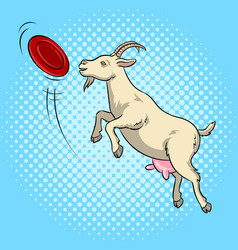 Goat catches frisbee disc pop art vector
