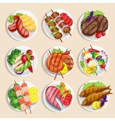 Grilled Food Set vector