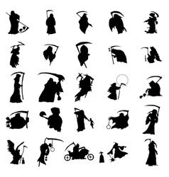 Grim reaper silhouette set vector image