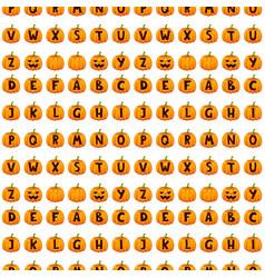 Halloween pumpkin font alphabet text seamless vector