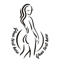 hand drawn of woman figure vector image