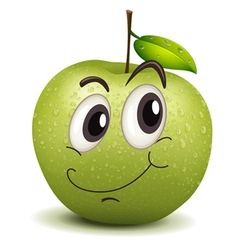 happy apple smiley vector image vector image