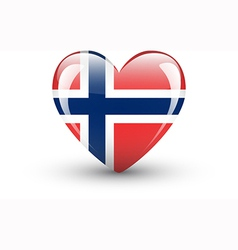 Heart-shaped icon with national flag of norway vector