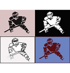 Hockey Player in Movement Mascot Silhouettes vector