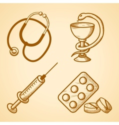 Icons set of medical items vector image