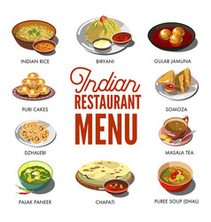 Indian cuisine food traditional dishes vector