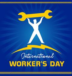 international workers day man on blue sunbeams vector image