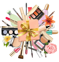 Makeup cosmetics with gift vector