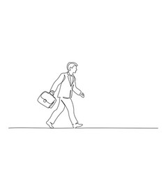 man walking on street with briefcase one line vector image