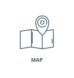 map line icon linear concept outline sign vector image