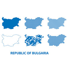 map of republic of bulgaria - set of silhouettes vector image
