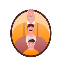 men only family member photo frame isolated vector image