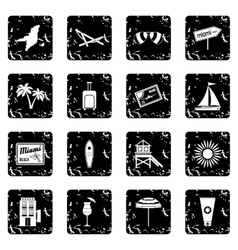 Miami set icons grunge style vector