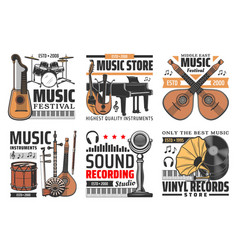 Music and sound icons instruments records studio vector
