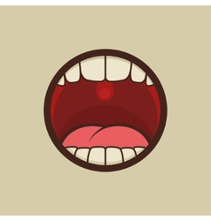Open Mouth with Teeth and Tongue vector