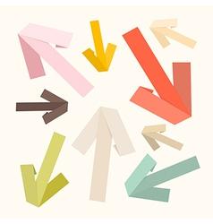 Paper Arrows Set in Retro Colors vector image
