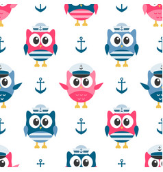 Pattern with owls sailors and anchors vector