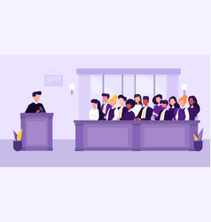People judge and courthouse in jury trial concept vector