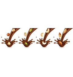 pouring chocolate splashes and nuts realistic set vector image