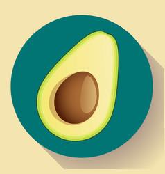 Realistic avocado icon cut vector