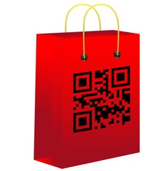 Red shopping bar with qr code vector