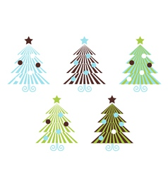 retro christmas trees vector image vector image