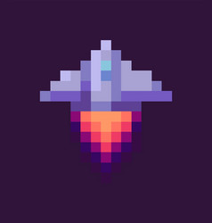 retro spaceship pixel art game rocket at night vector image