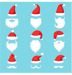 Santa claus hat and beard christmas traditional vector