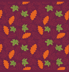 seamless pattern with autumn leaves with line vector image