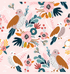 seamless pattern with cute birds flowers berries vector image