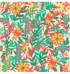 seamless pattern with hand drawn blooming flowers vector image