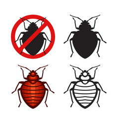 set bed bugs insect icons vector image