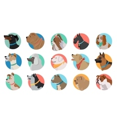 set dog round icons vector image