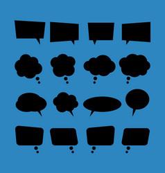 set of blank flat speech bubbles in black style vector image