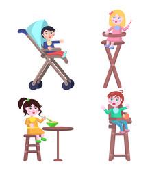 Set of children characters happy mother day vector