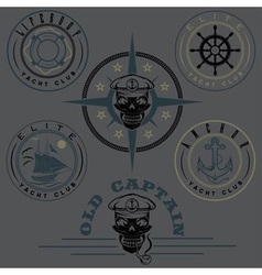Set of vintage labels with boat captain skull vector