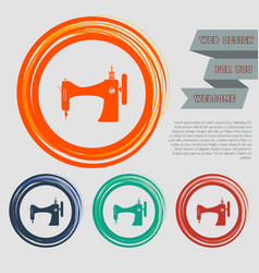 sewing machine icon on the red blue green orange vector image