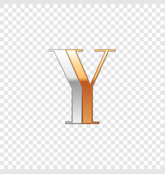 Silver and gold font symbol alphabet letter y vector