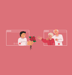 Son congratulates his mother with flowers vector